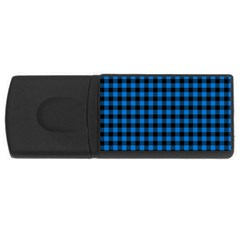 Lumberjack Fabric Pattern Blue Black Usb Flash Drive Rectangular (4 Gb) by EDDArt