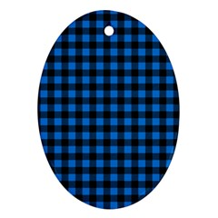 Lumberjack Fabric Pattern Blue Black Oval Ornament (two Sides) by EDDArt