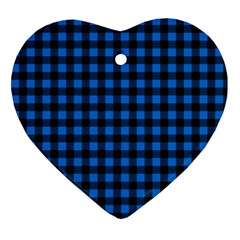 Lumberjack Fabric Pattern Blue Black Heart Ornament (two Sides) by EDDArt