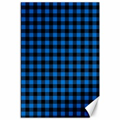 Lumberjack Fabric Pattern Blue Black Canvas 12  X 18   by EDDArt