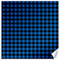 Lumberjack Fabric Pattern Blue Black Canvas 16  X 16   by EDDArt