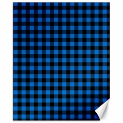 Lumberjack Fabric Pattern Blue Black Canvas 16  X 20   by EDDArt