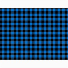 Lumberjack Fabric Pattern Blue Black Canvas 18  X 24   by EDDArt