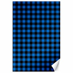 Lumberjack Fabric Pattern Blue Black Canvas 20  X 30   by EDDArt
