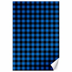 Lumberjack Fabric Pattern Blue Black Canvas 24  X 36  by EDDArt