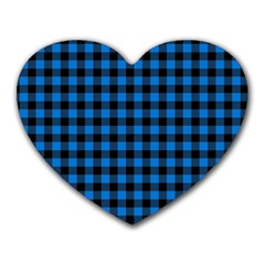 Lumberjack Fabric Pattern Blue Black Heart Mousepads by EDDArt