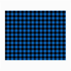 Lumberjack Fabric Pattern Blue Black Small Glasses Cloth (2 Side) by EDDArt