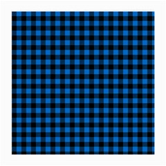 Lumberjack Fabric Pattern Blue Black Medium Glasses Cloth (2-side) by EDDArt