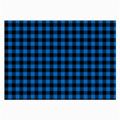 Lumberjack Fabric Pattern Blue Black Large Glasses Cloth (2 Side) by EDDArt