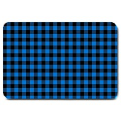 Lumberjack Fabric Pattern Blue Black Large Doormat  by EDDArt