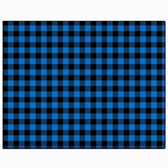 Lumberjack Fabric Pattern Blue Black Canvas 11  X 14   by EDDArt