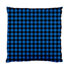 Lumberjack Fabric Pattern Blue Black Standard Cushion Case (two Sides) by EDDArt