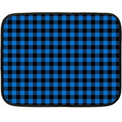 Lumberjack Fabric Pattern Blue Black Fleece Blanket (mini) by EDDArt
