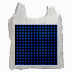 Lumberjack Fabric Pattern Blue Black Recycle Bag (one Side) by EDDArt