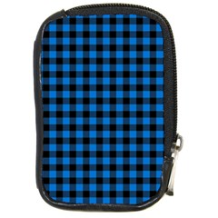 Lumberjack Fabric Pattern Blue Black Compact Camera Cases by EDDArt