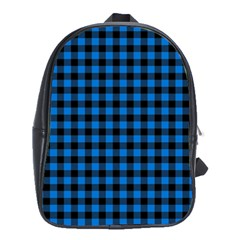 Lumberjack Fabric Pattern Blue Black School Bags(large)  by EDDArt