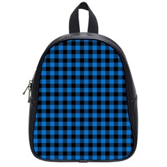 Lumberjack Fabric Pattern Blue Black School Bags (small)  by EDDArt