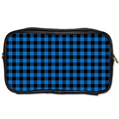 Lumberjack Fabric Pattern Blue Black Toiletries Bags by EDDArt