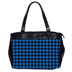 Lumberjack Fabric Pattern Blue Black Office Handbags (2 Sides)  by EDDArt