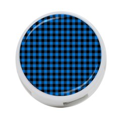 Lumberjack Fabric Pattern Blue Black 4 Port Usb Hub (one Side) by EDDArt