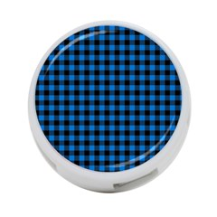 Lumberjack Fabric Pattern Blue Black 4 Port Usb Hub (two Sides)  by EDDArt