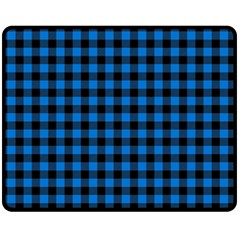 Lumberjack Fabric Pattern Blue Black Fleece Blanket (medium)  by EDDArt