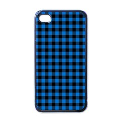 Lumberjack Fabric Pattern Blue Black Apple Iphone 4 Case (black) by EDDArt