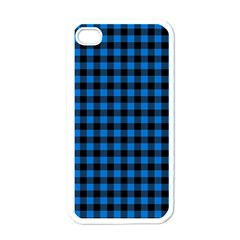 Lumberjack Fabric Pattern Blue Black Apple Iphone 4 Case (white) by EDDArt