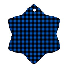 Lumberjack Fabric Pattern Blue Black Ornament (snowflake) by EDDArt