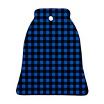 Lumberjack Fabric Pattern Blue Black Bell Ornament (Two Sides) Back