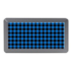 Lumberjack Fabric Pattern Blue Black Memory Card Reader (mini) by EDDArt