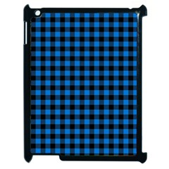 Lumberjack Fabric Pattern Blue Black Apple Ipad 2 Case (black) by EDDArt
