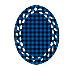 Lumberjack Fabric Pattern Blue Black Oval Filigree Ornament (two Sides) by EDDArt