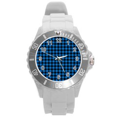 Lumberjack Fabric Pattern Blue Black Round Plastic Sport Watch (l) by EDDArt
