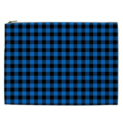 Lumberjack Fabric Pattern Blue Black Cosmetic Bag (xxl)  by EDDArt