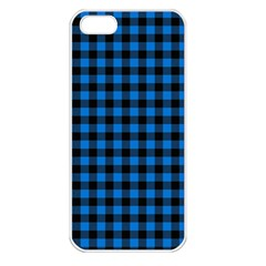 Lumberjack Fabric Pattern Blue Black Apple Iphone 5 Seamless Case (white) by EDDArt