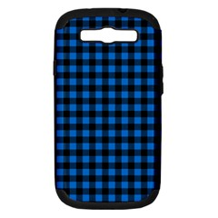 Lumberjack Fabric Pattern Blue Black Samsung Galaxy S Iii Hardshell Case (pc+silicone) by EDDArt