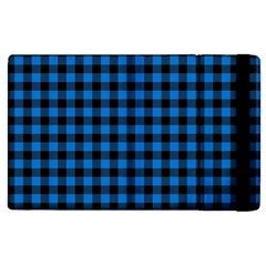 Lumberjack Fabric Pattern Blue Black Apple Ipad 2 Flip Case by EDDArt