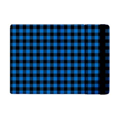 Lumberjack Fabric Pattern Blue Black Apple Ipad Mini Flip Case by EDDArt