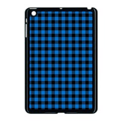 Lumberjack Fabric Pattern Blue Black Apple Ipad Mini Case (black) by EDDArt