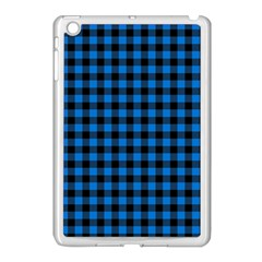 Lumberjack Fabric Pattern Blue Black Apple Ipad Mini Case (white) by EDDArt