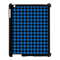 Lumberjack Fabric Pattern Blue Black Apple Ipad 3/4 Case (black) by EDDArt