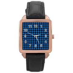 Lumberjack Fabric Pattern Blue Black Rose Gold Leather Watch  by EDDArt