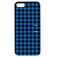 Lumberjack Fabric Pattern Blue Black Apple Iphone 5 Hardshell Case With Stand by EDDArt