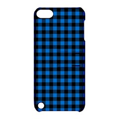 Lumberjack Fabric Pattern Blue Black Apple Ipod Touch 5 Hardshell Case With Stand by EDDArt