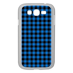 Lumberjack Fabric Pattern Blue Black Samsung Galaxy Grand Duos I9082 Case (white) by EDDArt
