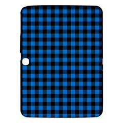 Lumberjack Fabric Pattern Blue Black Samsung Galaxy Tab 3 (10 1 ) P5200 Hardshell Case  by EDDArt