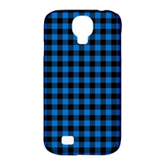 Lumberjack Fabric Pattern Blue Black Samsung Galaxy S4 Classic Hardshell Case (pc+silicone) by EDDArt