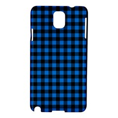 Lumberjack Fabric Pattern Blue Black Samsung Galaxy Note 3 N9005 Hardshell Case by EDDArt