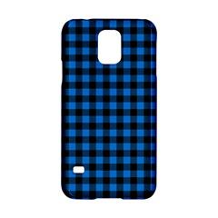 Lumberjack Fabric Pattern Blue Black Samsung Galaxy S5 Hardshell Case  by EDDArt